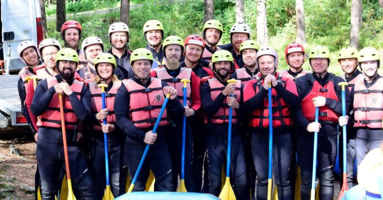 Enonic employees before rafting.