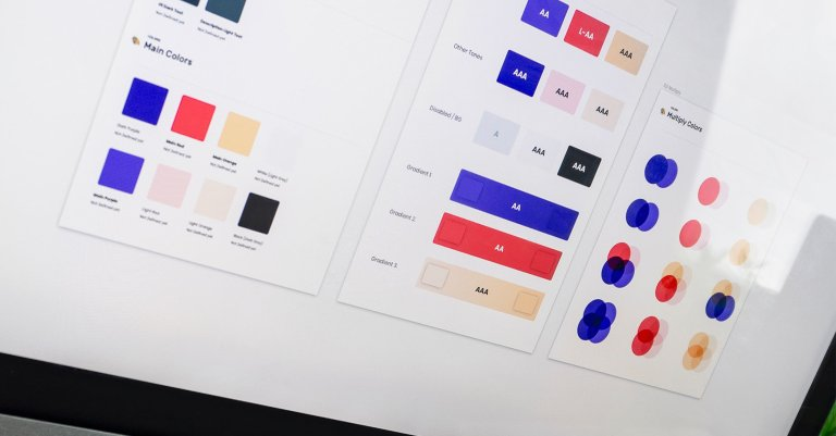 Design system: colour palettes on a computer screen.